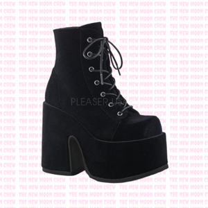 Camel - Black Velvet Ankle Boot
