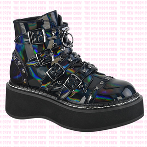 Emily - Black Hologram Ankle Boot