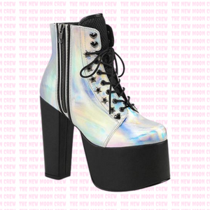 Torment - Silver Hologram Ankle Boot