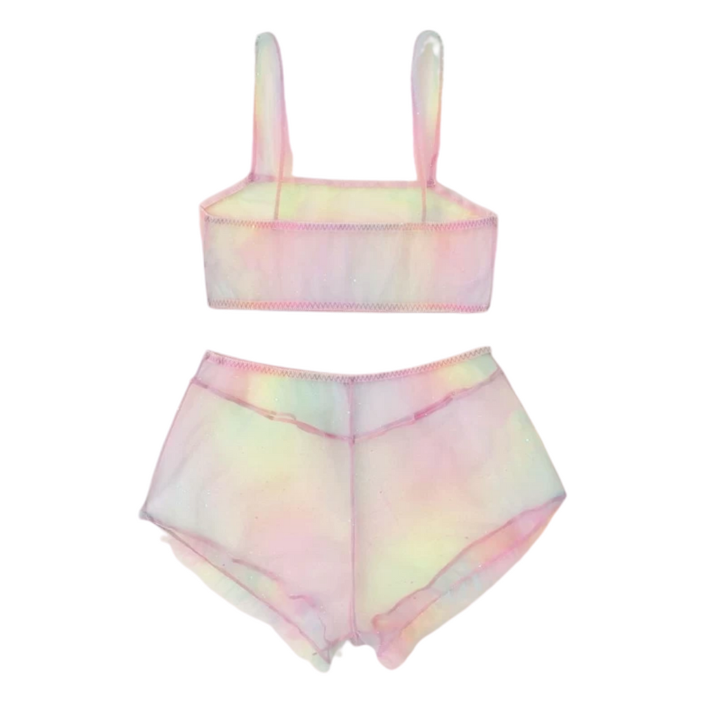Glitter Paddle Pop Mesh Crop and Shortie Set