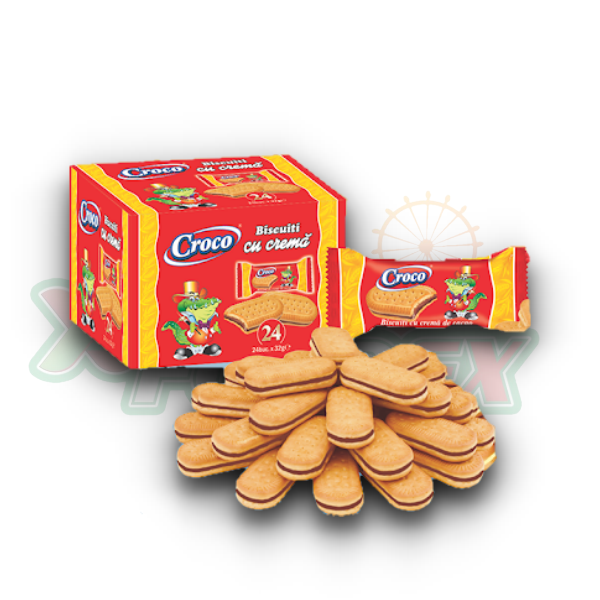 CROCO BISCUITS FILLED WITH COCOA 24X32GR / DISPLAY, 5PCS/BOX