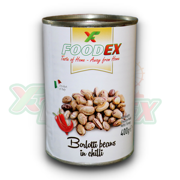 FOODEX BORLOTTI BEANS IN CHILLI 800GR 12/BOX