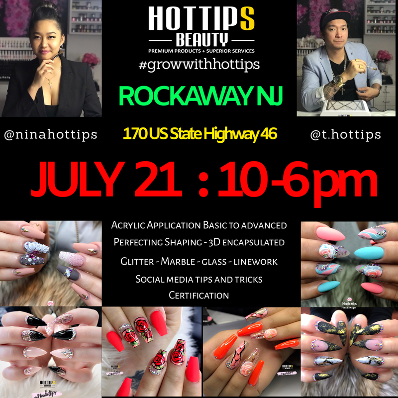 Rockaway NJ Nail Class Workshop Acrylic Application Basic to Advanced Perfecting Shaping - 3D Encapsulated Glitter - Ombre - Marble - Linework Social Marketing Tips and Tricks Certification Lunch included