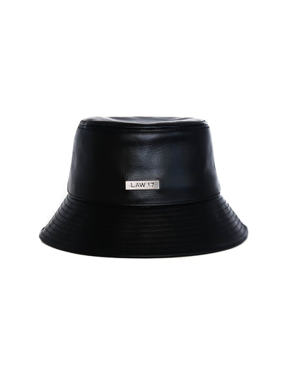 Classic Leather Bucket Hat | Black - LAW 17