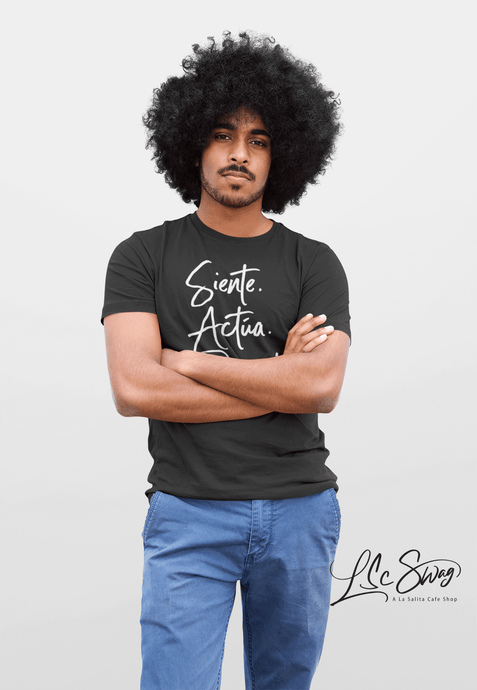 LSC Swag Model wearing Siente Actúa Resiste recycled t-shirt in Black