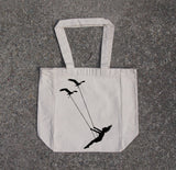 Flying bird swing- cotton canvas natural tote bag