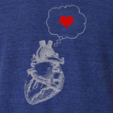 Mens heart thinking heart