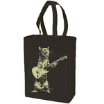 Cat playing guitar- cotton canvas natural tote bag