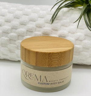 Qrema Custom Body Balm - Qrema, 2 oz of your own customized body balm! Glass jar bamboo lid.
