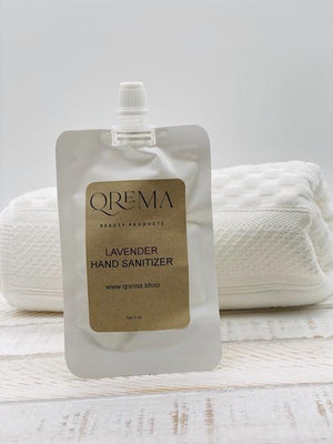 Qrema LAVENDER Hand Sanitizer Refill Pouch - Qrema Sanitize your hands with the relaxing scent of lavender.  Ingredients: 91% isopropyl alcohol, aloe vera gel, fragrance essential oil.  *hand sanitizer contains 80% isopropyl alcohol*  Shake well before use. Follow with your favorite Qrema Body Balm for best results.  Net 2 oz