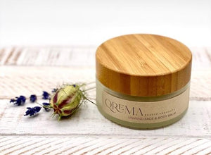 Load image into Gallery viewer, Lavender and Tea tree fuel the senses and relax your spirits. These two scents combined carry a healthy dosage of aromatherapy. Our face & body balm will help you unwind after a long stressful day at the office or life!  UNWIND has properties that help relax, soothe, relief pain, improve blood circulation, its anti-inflammatory and antimicrobial.  Ingredients: shea butter, mineral oils, fragrance essential oil and natural powder.  *Contains Tree Nuts 4oz