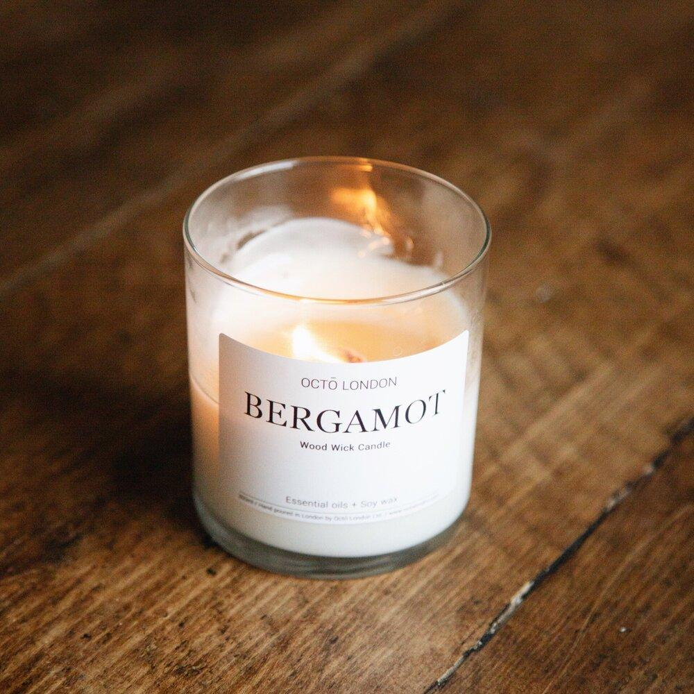 Bergamot Candle Kerzen Octo London Wood Wick 300ml - Clear Jar - Genuine Selection