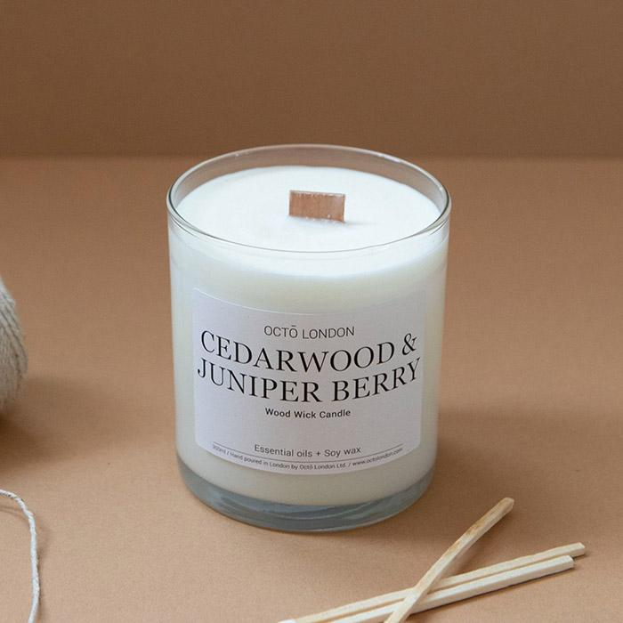Cedarwood & Juniper Berry Candle Kerzen Octo London Wood Wick 300ml - Clear Jar - Genuine Selection