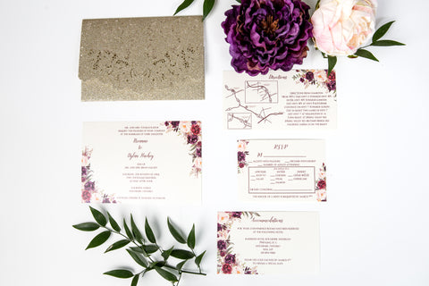 laser cut glitter pocket wedding invitation burgundy and blush floral