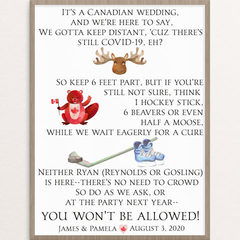 canadian themed social distancing wedding sign day of stationery customized keep back 6 feet