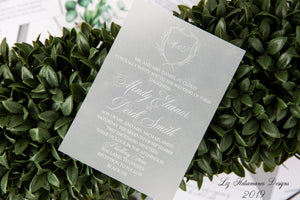 White Ink on Vellum luxury wedding invitation by Liz Kotsamanes Designs, Cambridge, Ontario, Canada luxury wedding and event stationery