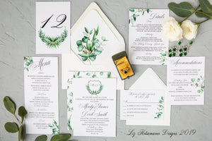 Fresh Eucalyptus  luxury wedding invitation suite created by Liz Kotsamanes Designs Cambridge, Ontario, Canada elegant luxury wedding stationery