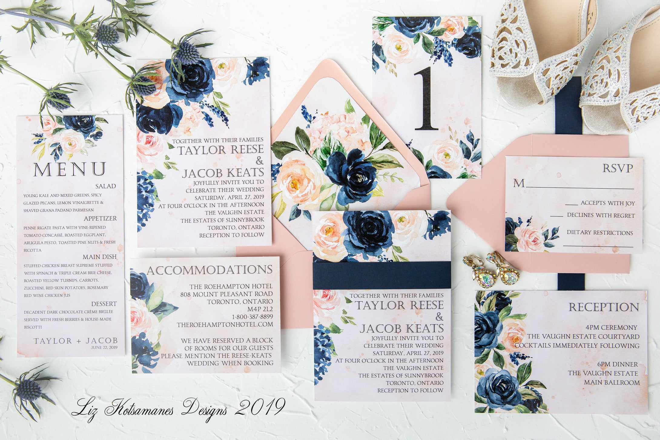 Stunning navy and blush wedding invitation suite with dusty rose envelope created by Liz Kotsamanes Designs, Cambridge, Ontario, Canada, elegant luxury wedding stationery