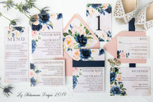 Load image into Gallery viewer, Stunning navy and blush wedding invitation suite with dusty rose envelope created by Liz Kotsamanes Designs, Cambridge, Ontario, Canada, elegant luxury wedding stationery