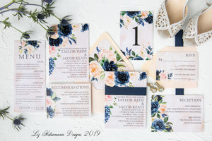 Stunning navy and blush wedding invitation suite with blush envelope created by Liz Kotsamanes Designs, Cambridge, Ontario, Canada, elegant luxury wedding stationery