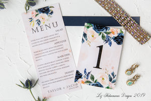 Stunning navy and blush wedding invitation suite table number and menu created by Liz Kotsamanes Designs, Cambridge, Ontario, Canada