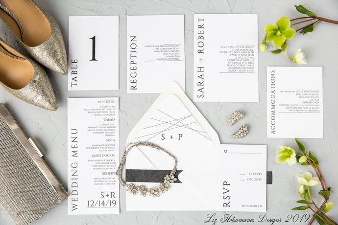 Simply elegant black and white modern wedding invitation created by Liz Kotsamanes Designs, Cambridge, Ontario, Canada, elegant luxury wedding stationery