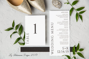Simply elegant black and white modern wedding invitation suite table numbers and menus created by Liz Kotsamanes Designs, Cambridge, Ontario, Canada, elegant luxury wedding stationery