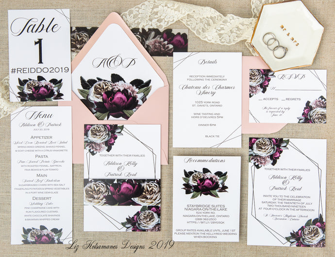 Burgundy and blush floral wedding invitation by Liz Kotsamanes Designs, Cambridge, Ontario, Canada elegant luxury wedding stationery