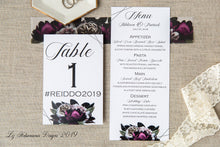 Load image into Gallery viewer, Burgundy and blush floral table number and menu by Liz Kotsamanes Designs, Cambridge, Ontario, Canada elegant luxury wedding stationery