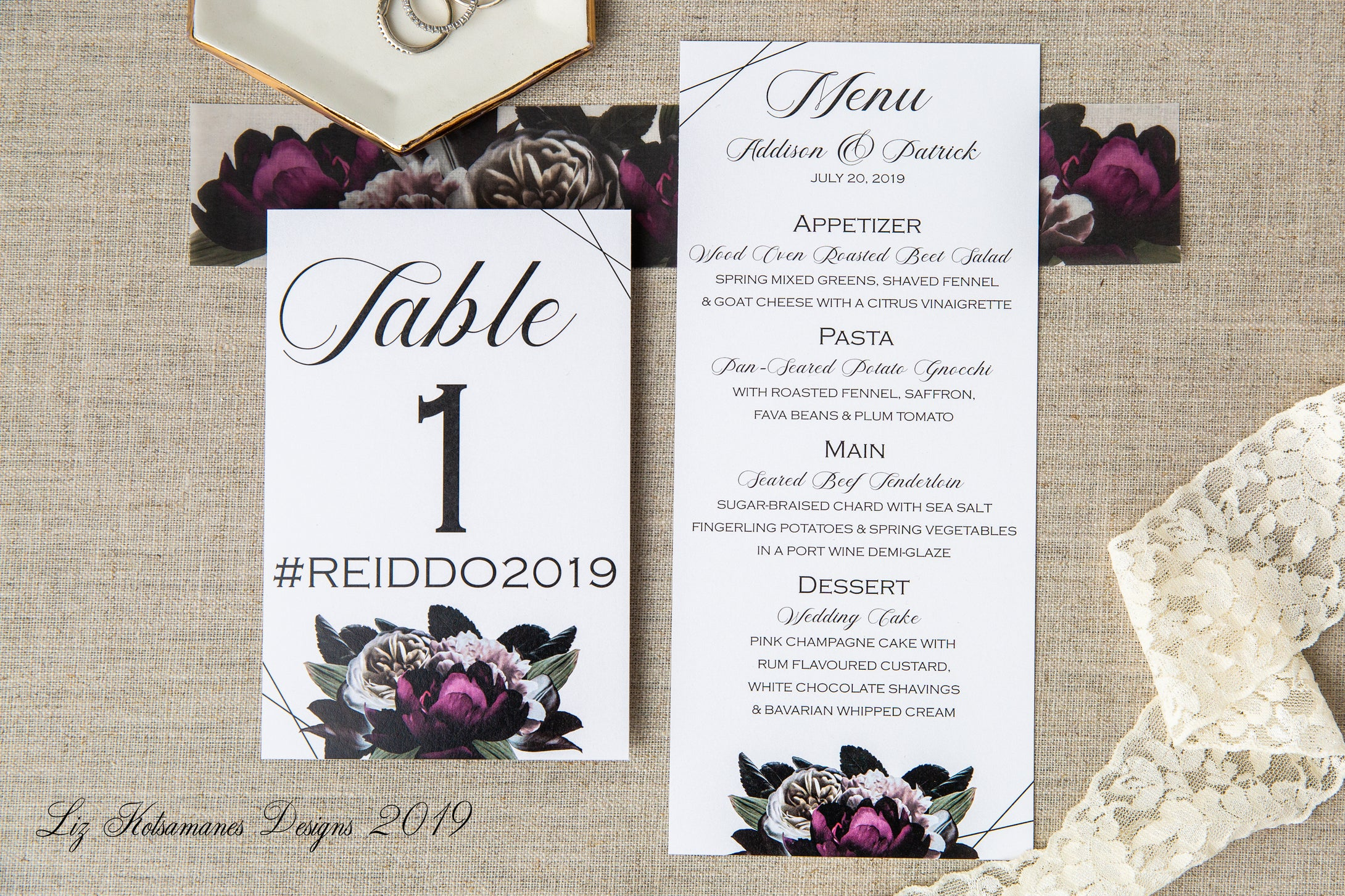 Burgundy and blush floral table number and menu by Liz Kotsamanes Designs, Cambridge, Ontario, Canada elegant luxury wedding stationery