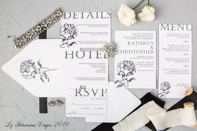 Elegant black and white peony minimalist modern wedding invitations created by Liz Kotsamanes Designs, Cambridge, Ontario Canada, elegant luxury wedding stationery
