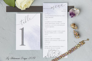 Purple watercolour elegant luxury wedding invitation suite table numbers and menus created by Liz Kotsamanes Designs, Cambridge, Ontario, Canada elegant luxury wedding stationery