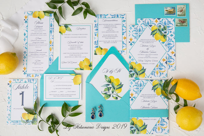 Moroccan tile lemon wedding invitations Amalfi Coast Inspired Liz Kotsamanes Designs Cambridge Ontario elegant luxury turquoise and yellow wedding invitations