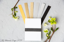 Load image into Gallery viewer, Liz Kotsamanes Designs Belly Band Colours Luxury Wedding Invitations, Cambridge, Ontario, Canada elegant luxury wedding stationery