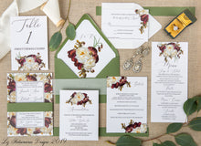 Load image into Gallery viewer, Romantic Magnolia elegant realistic floral wedding invitation green envelopes created by Liz Kotsamanes Designs, Cambridge, Ontario, Canada, elegant luxury wedding stationery
