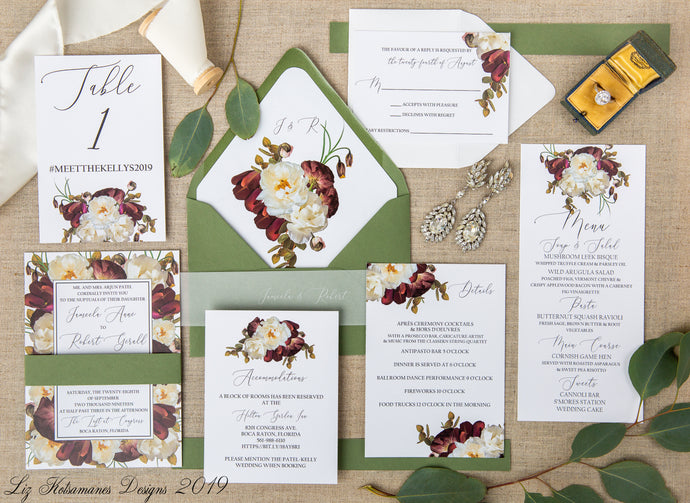 Romantic Magnolia elegant realistic floral wedding invitation green envelopes created by Liz Kotsamanes Designs, Cambridge, Ontario, Canada, elegant luxury wedding stationery