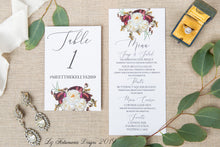 Load image into Gallery viewer, Romantic Magnolia elegant realistic floral wedding invitation table numbers and menus created by Liz Kotsamanes Designs, Cambridge, Ontario, Canada, elegant luxury wedding stationery
