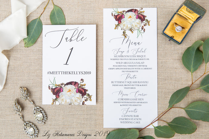 Romantic Magnolia elegant realistic floral wedding invitation table numbers and menus created by Liz Kotsamanes Designs, Cambridge, Ontario, Canada, elegant luxury wedding stationery