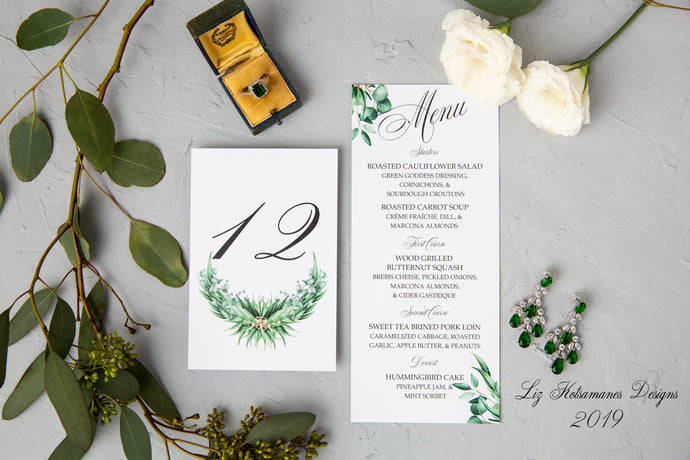 Fresh Eucalyptus luxury wedding invitation suite table numbers and menu created by Liz Kotsamanes Designs Cambridge, Ontario, Canada elegant luxury wedding stationery