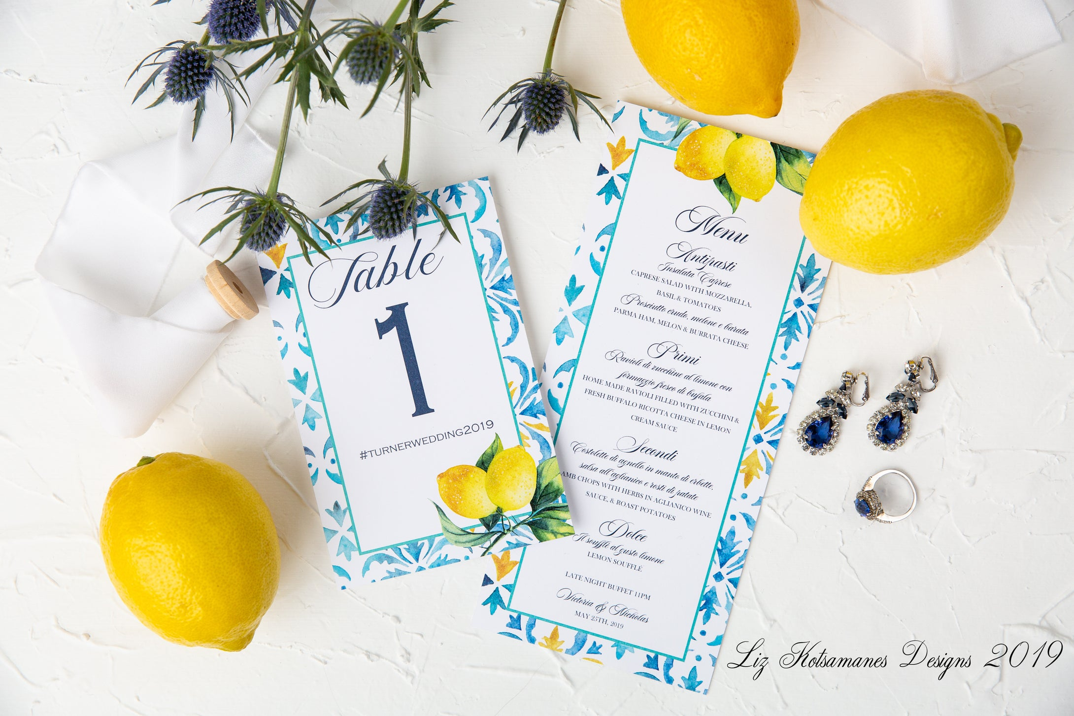 Moroccan Lemon Wedding Table Numbers