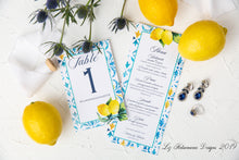 Load image into Gallery viewer, Moroccan Lemon Wedding Menu