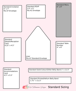 Liz Kotsamanes Designs Sizing Template Luxury Wedding Invitations, Cambridge, Ontario, Canada