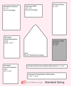 Liz Kotsamanes Designs Sizing Template Wedding Invitations elegant luxury event stationery