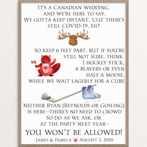 Canadian Wedding Social Distancing Sign