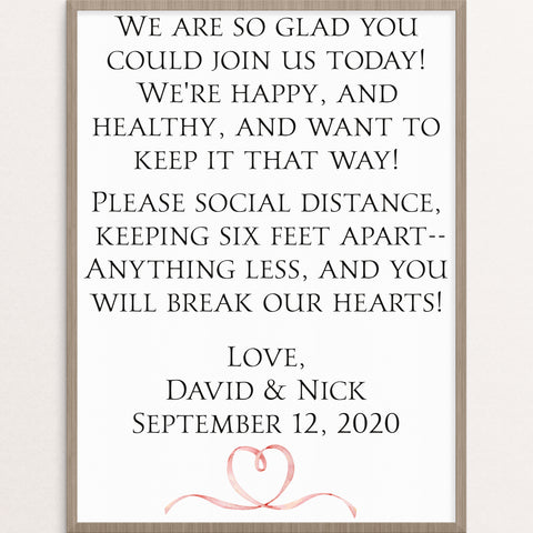 cute elegant and funny social distancing wedding sign day of stationery customized keep back 6 feet
