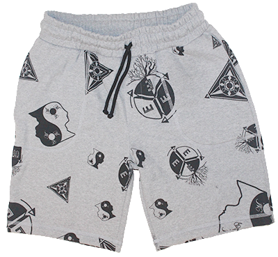 sweat shorts made with Peruvian cotton made to spread the message of enlightenment, available at our clothing store.