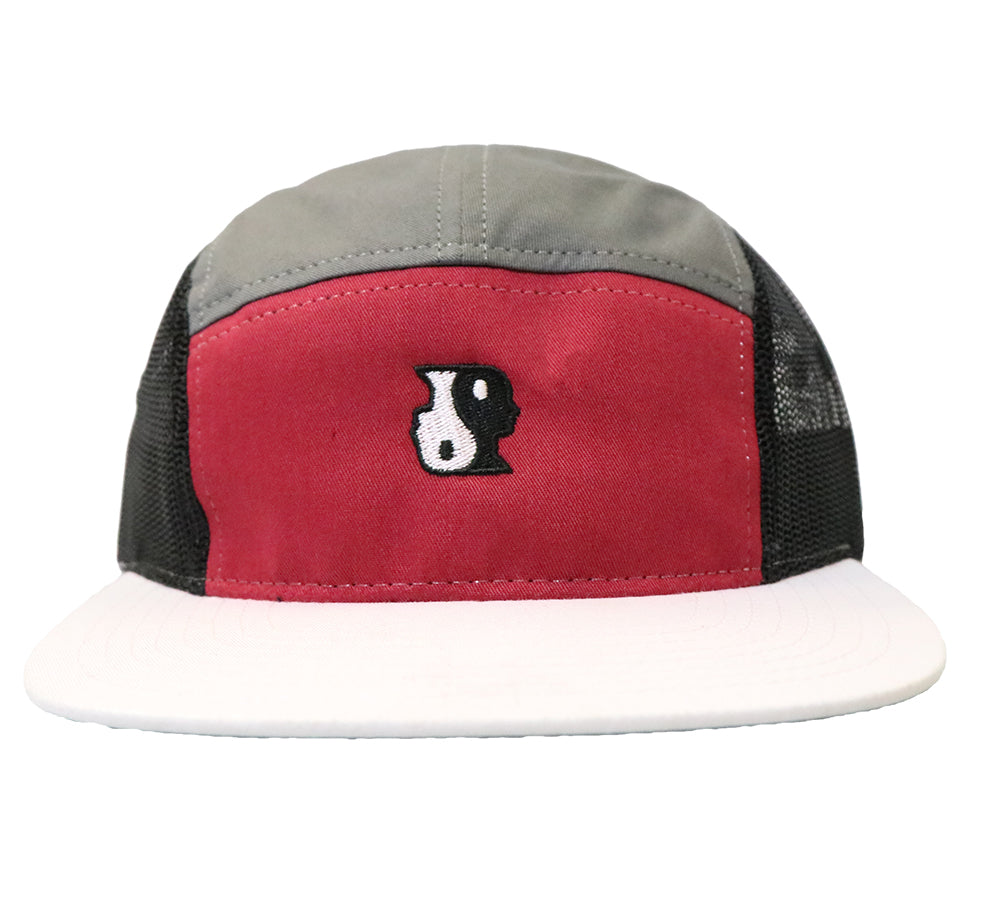 5 Panel Yin Yang Hat (Red/White/Grey)
