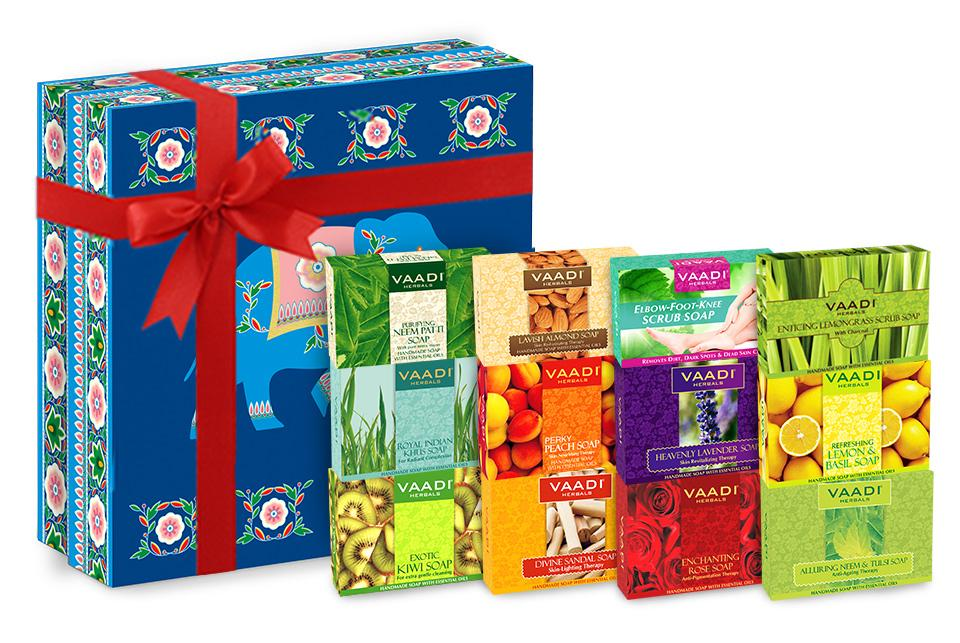 Assorted Pack of 12  Handmade Soaps with Royal Elephant Git Box  (12 x 75 gms/ 2.7 oz)