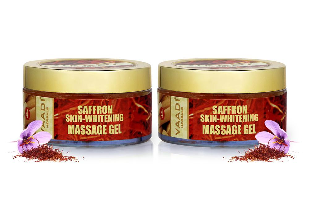 Organic Saffron Massage Gel with Basil Oil & Shea Butter - Improves Complexion (2 x 50 gms/2 oz)