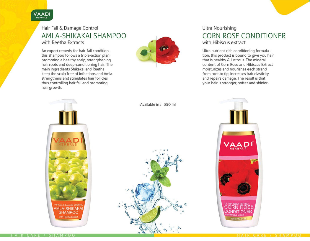 Hairfall & Damage Control Organic Gooseberry Shampoo -Corn Rose Conditioner (2 x 350 ml / 12 fl oz)